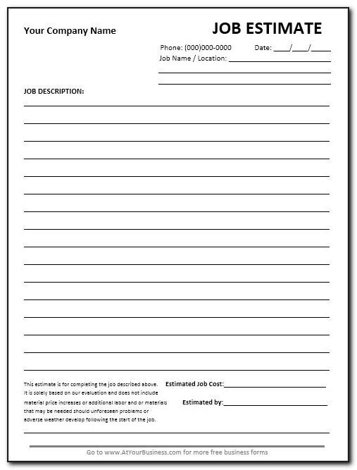Job Estimate Form Excel