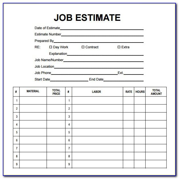 Job Estimate Forms To Print