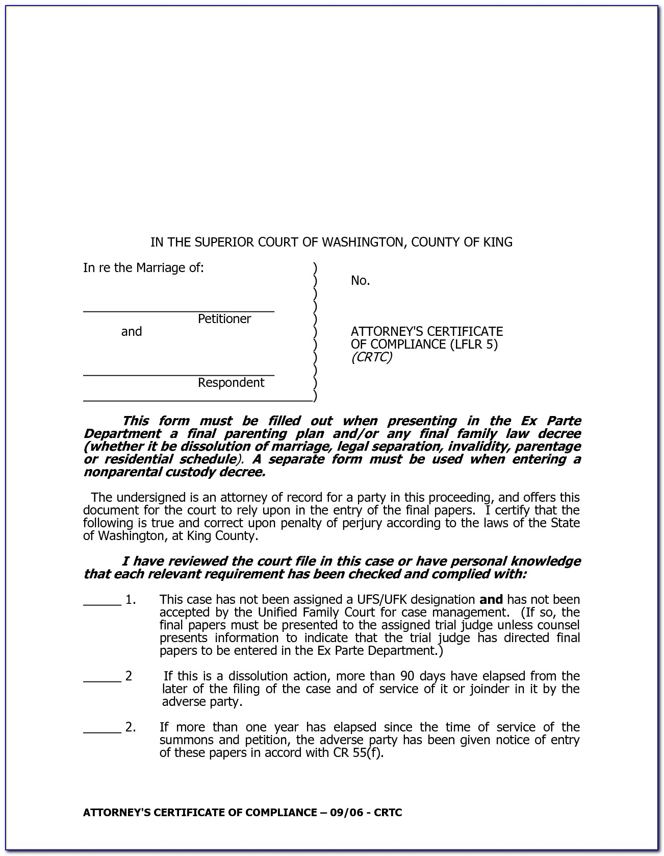 King County Divorce Filing Fee