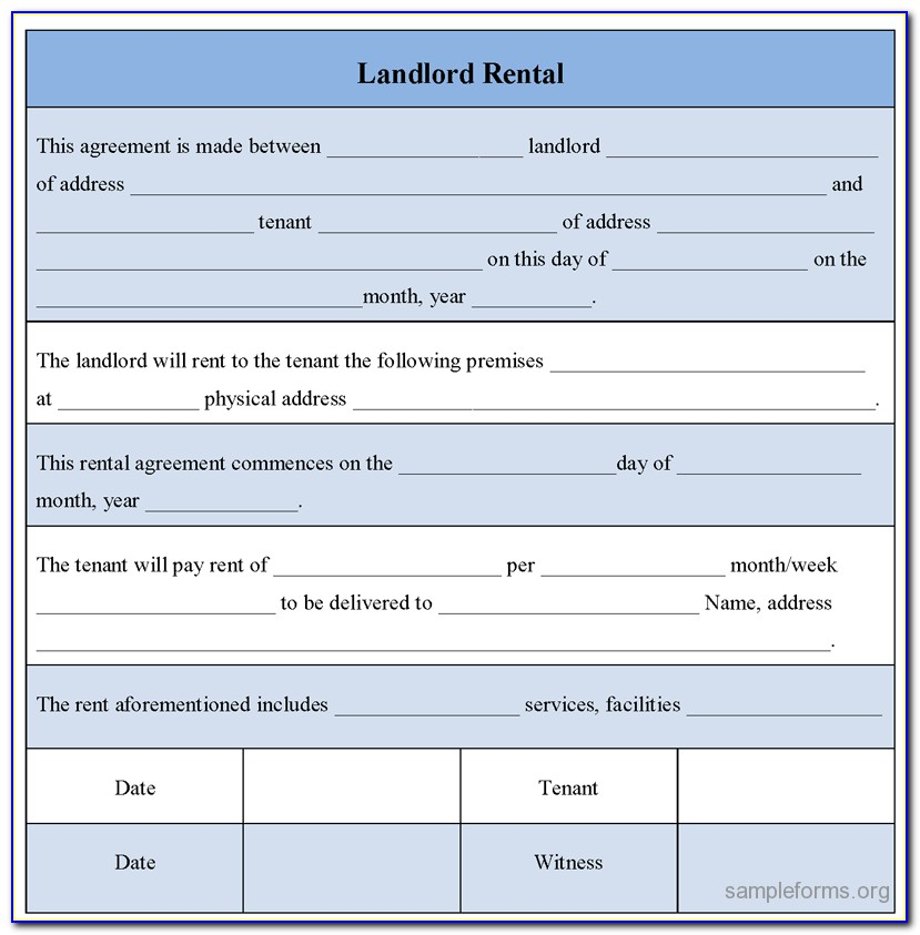 Landlord Tenant Agreement Form Sample