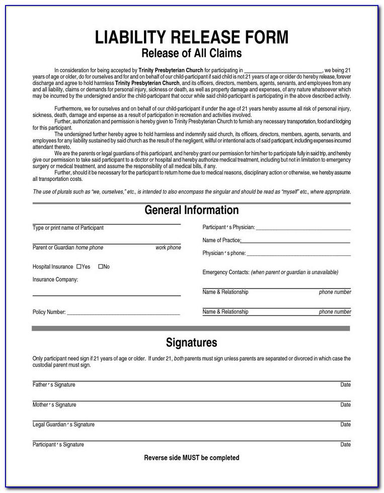 Liability Waiver Form Pdf Free