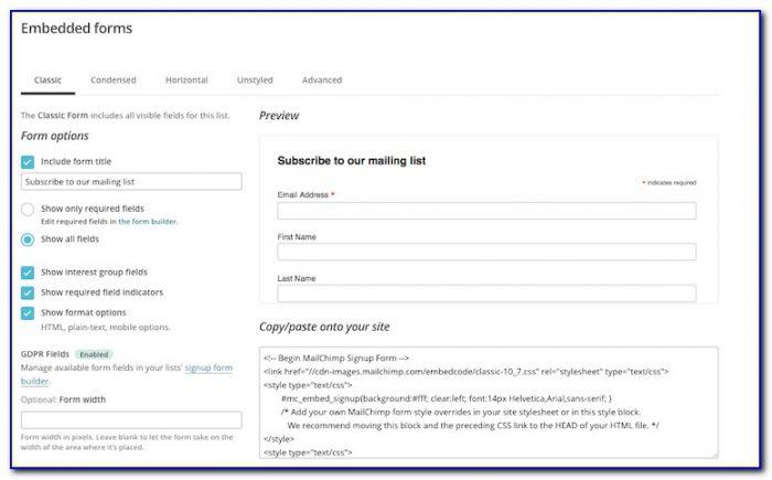 Mailchimp Form Builder Embed