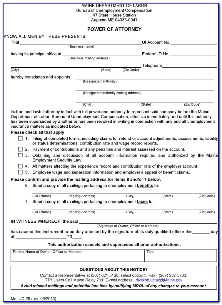 Maine Real Estate Power Of Attorney Form