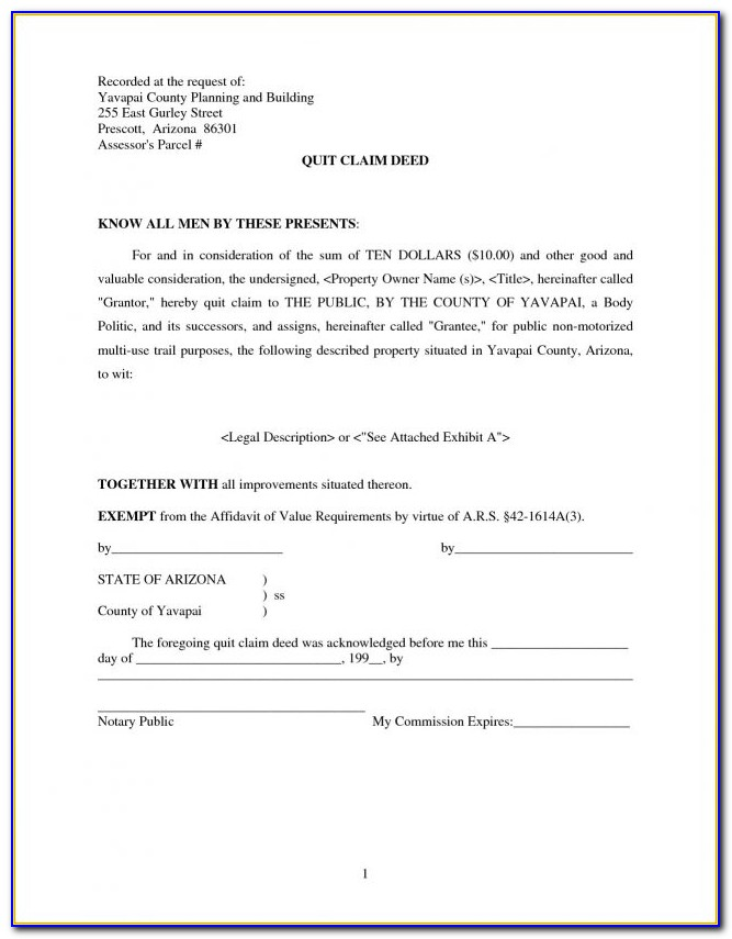 Maricopa County Quit Claim Deed Form Pdf