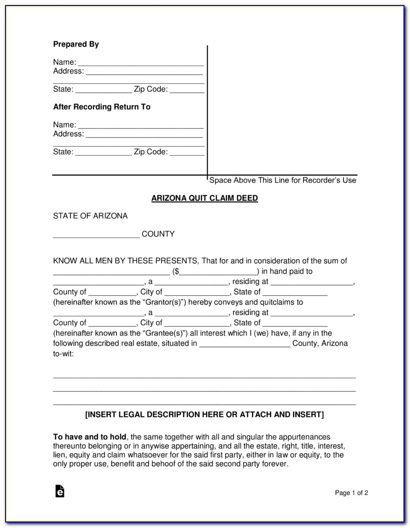 Maricopa County Quit Claim Deed Template