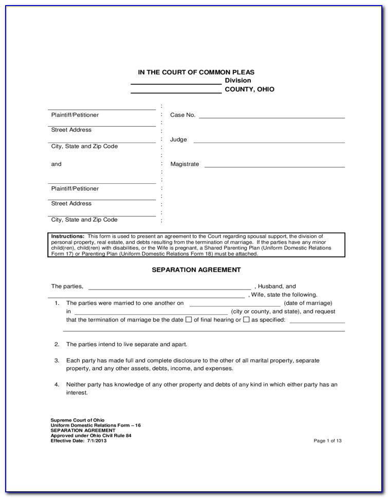 Marital Separation Agreement Form Ohio
