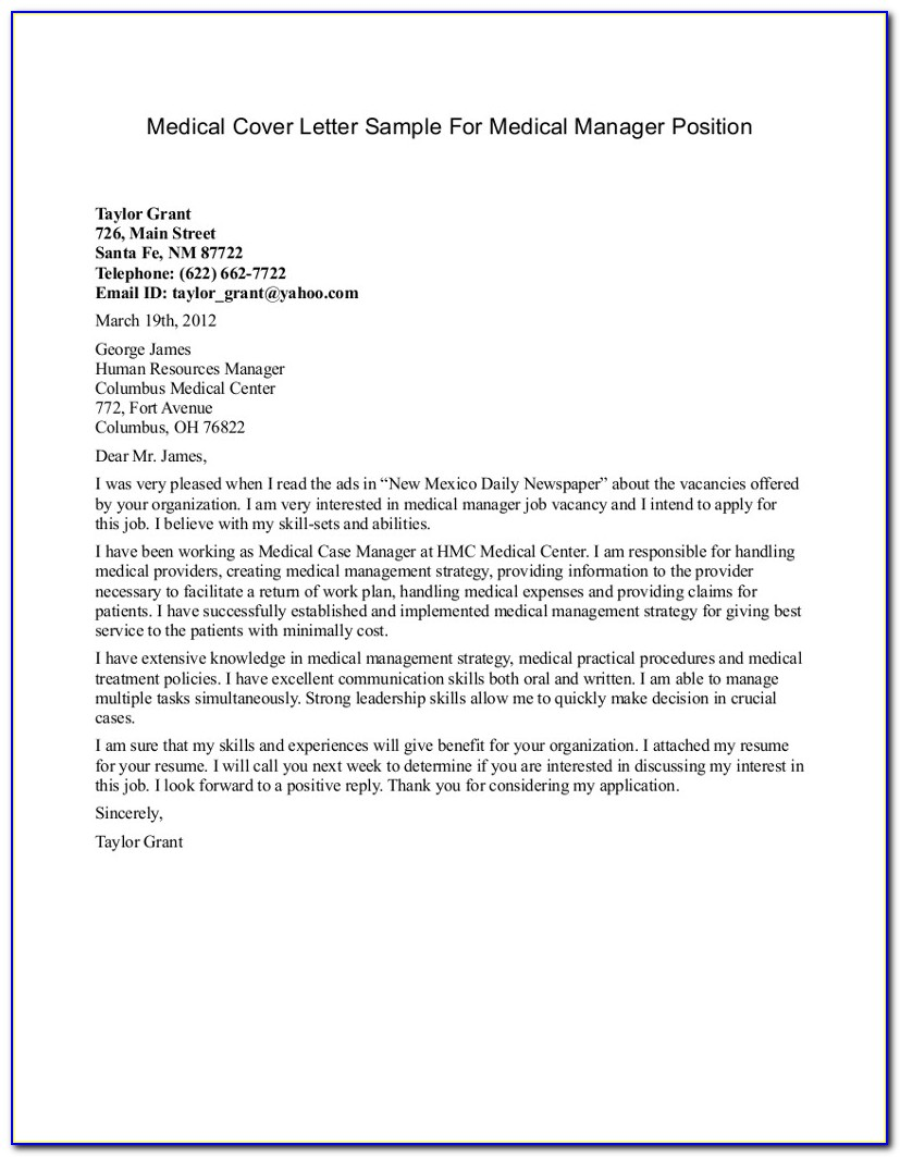 Medical Assistant Cover Letter Samples Free