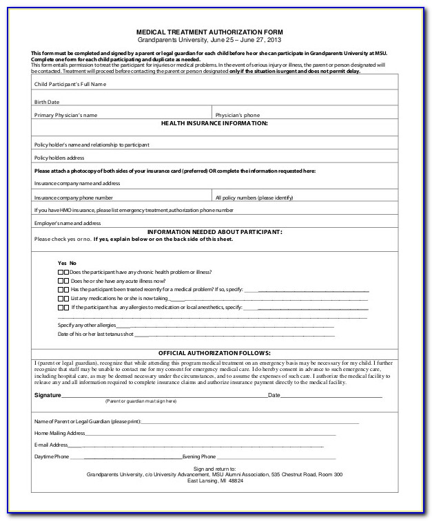 Medical Authorization Form For Grandparents Template