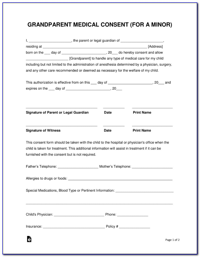 Medical Authorization Release Form For Grandparents