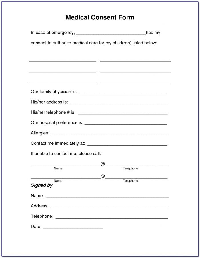 Medical Consent Form For Child Pdf