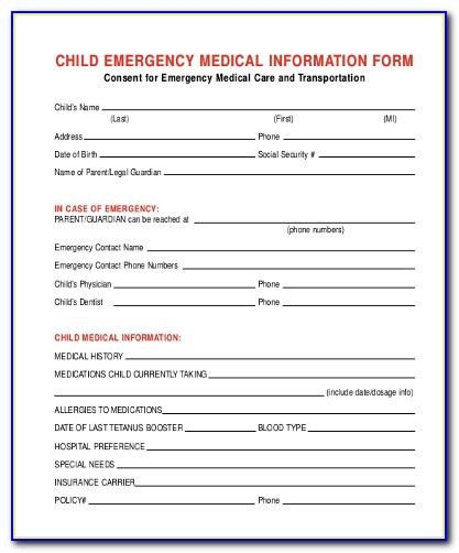 Medical Consent Form For Child While Parents Are Away California