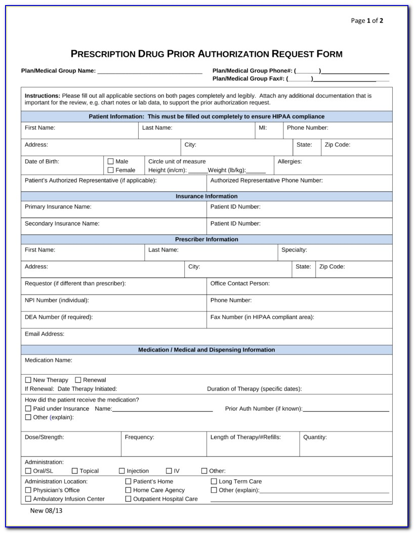 Medicare Medicaid Prior Authorization Forms For Medication