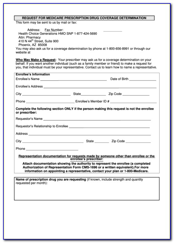 Medicare Part D Prior Authorization Form For Medication