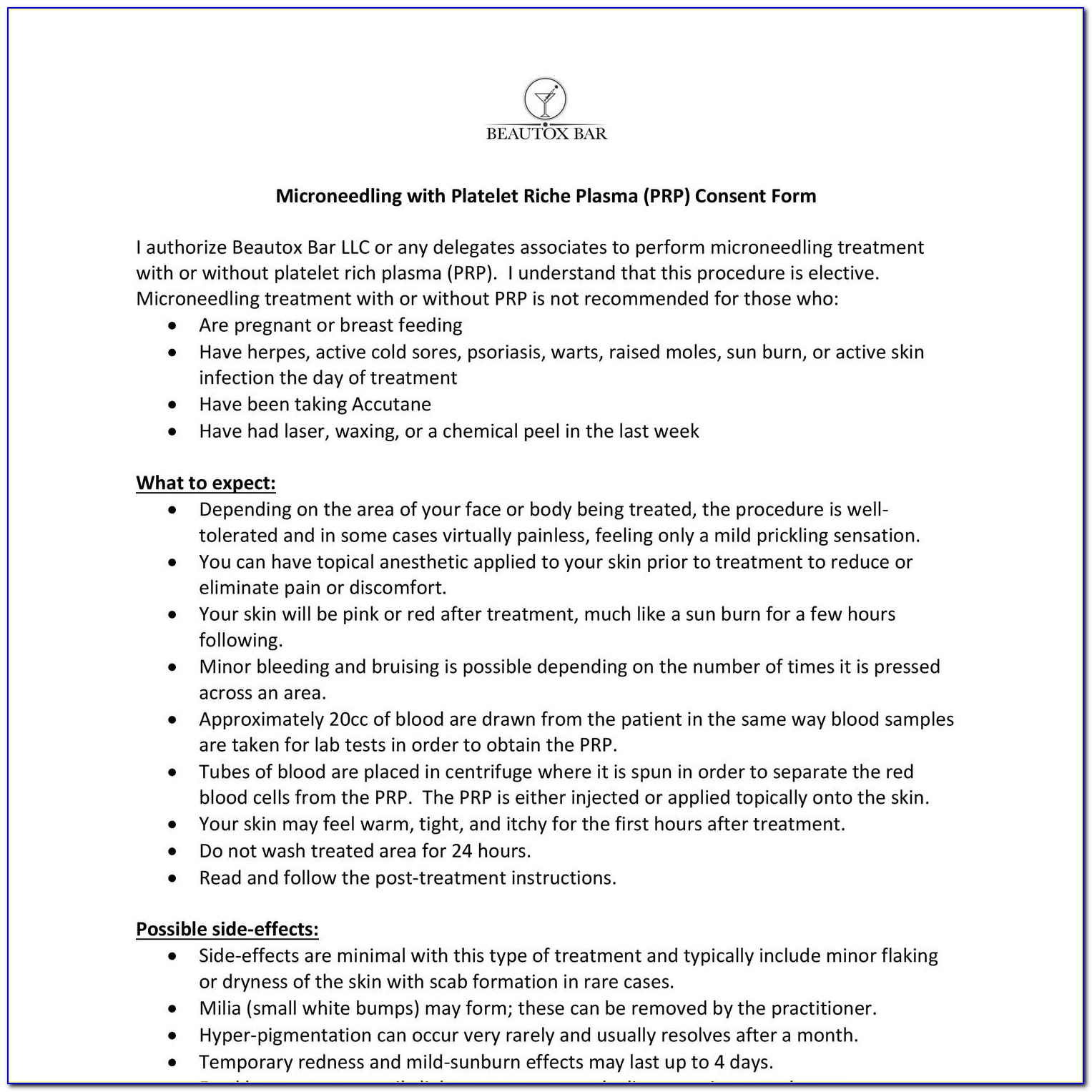 Microneedling Consent Form Pdf