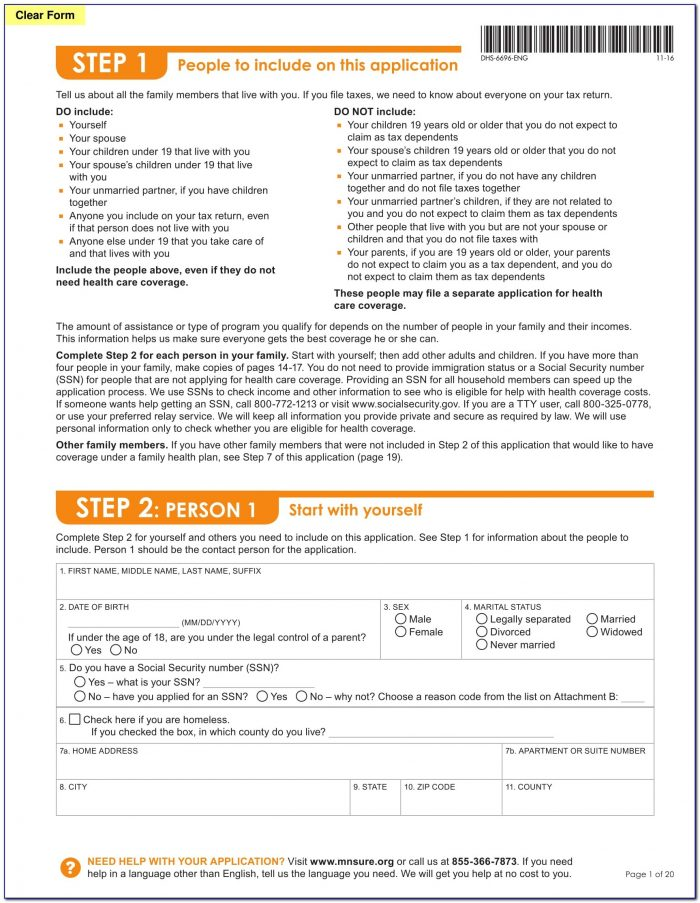 Mnsure Application Form