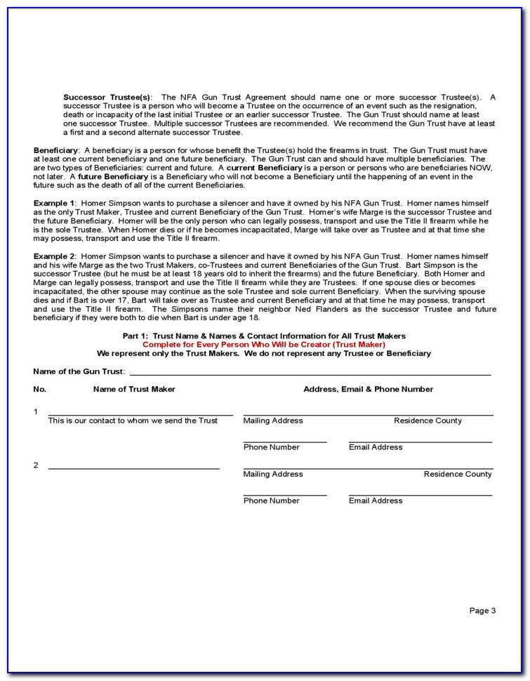 Nfa Gun Trust Form Texas