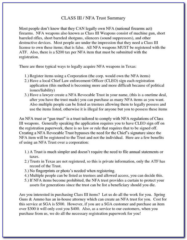 Nfa Gun Trust Template
