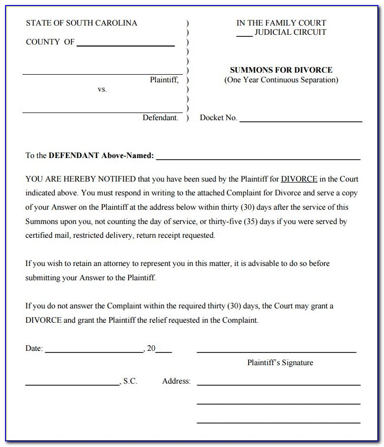 North Carolina Divorce Filing Forms