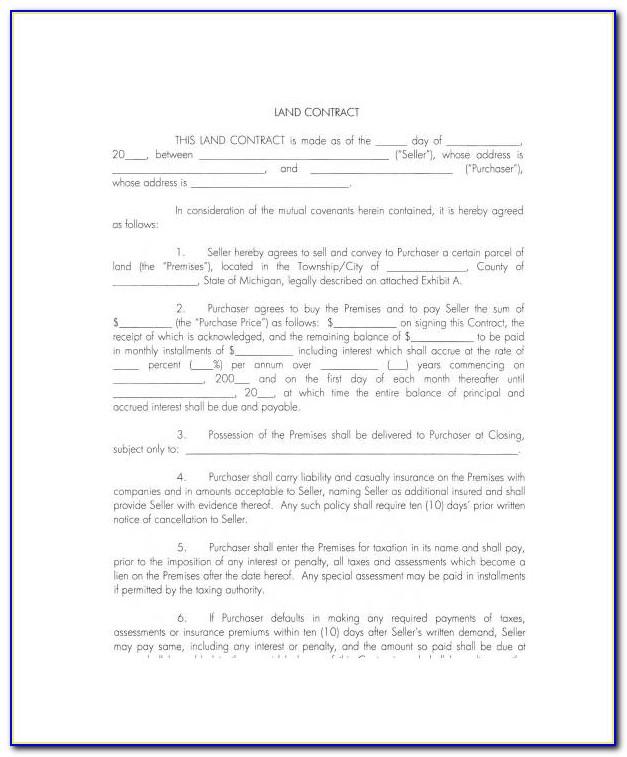 Ohio Land Contract Form Pdf