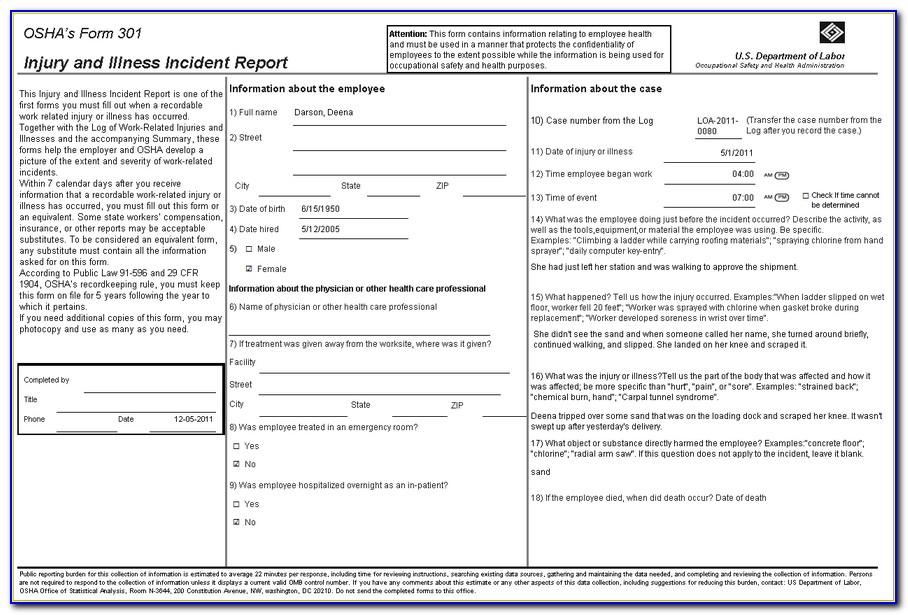 Osha Exposure Incident Report Form