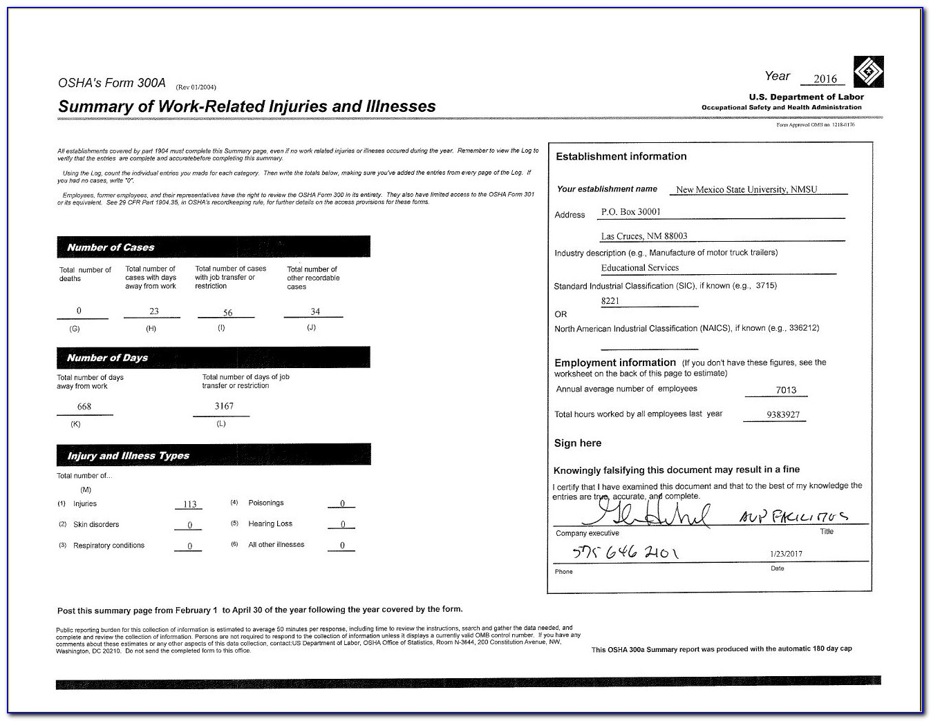Osha Form 300 Printable