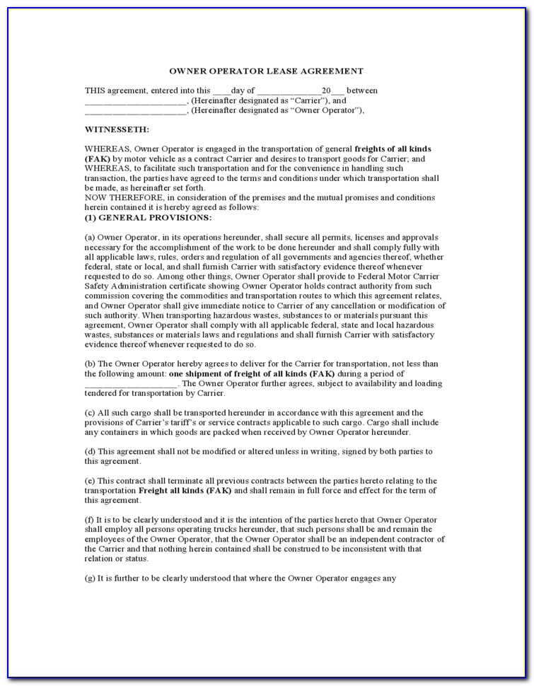 Owner Operator Lease Agreement Sample Form