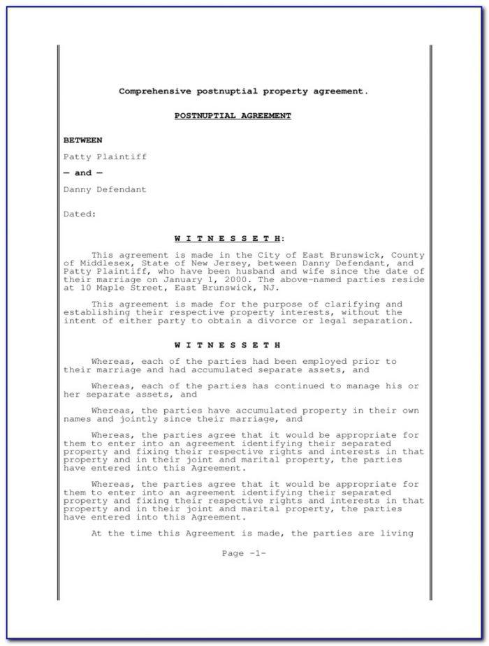 Postnuptial Agreement Form Illinois