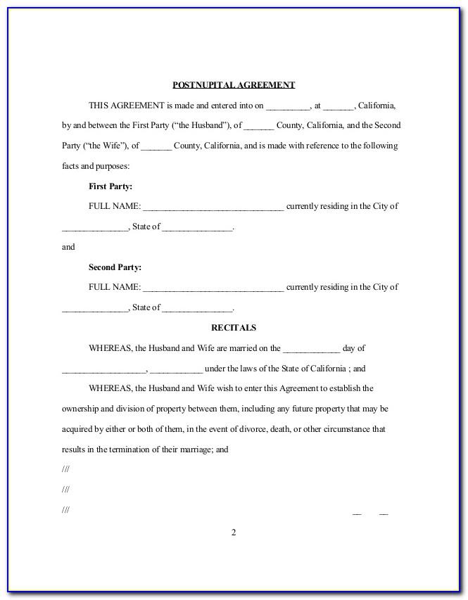 Postnuptial Agreement Form New York