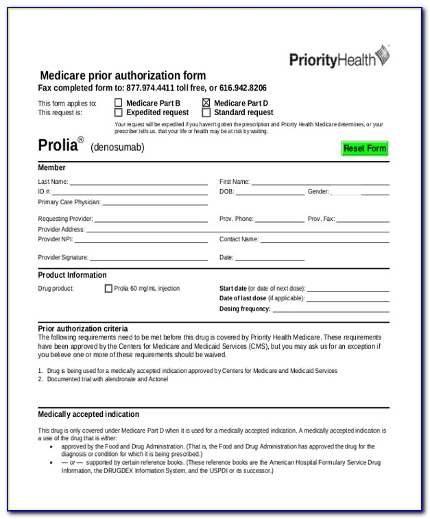 Pre Authorization Form For Medicare
