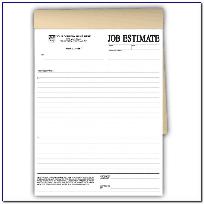 Printable Job Estimate Forms