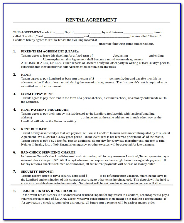 Printable Rental Application Forms