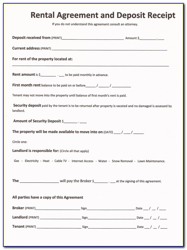 Printable Renters Agreement Form
