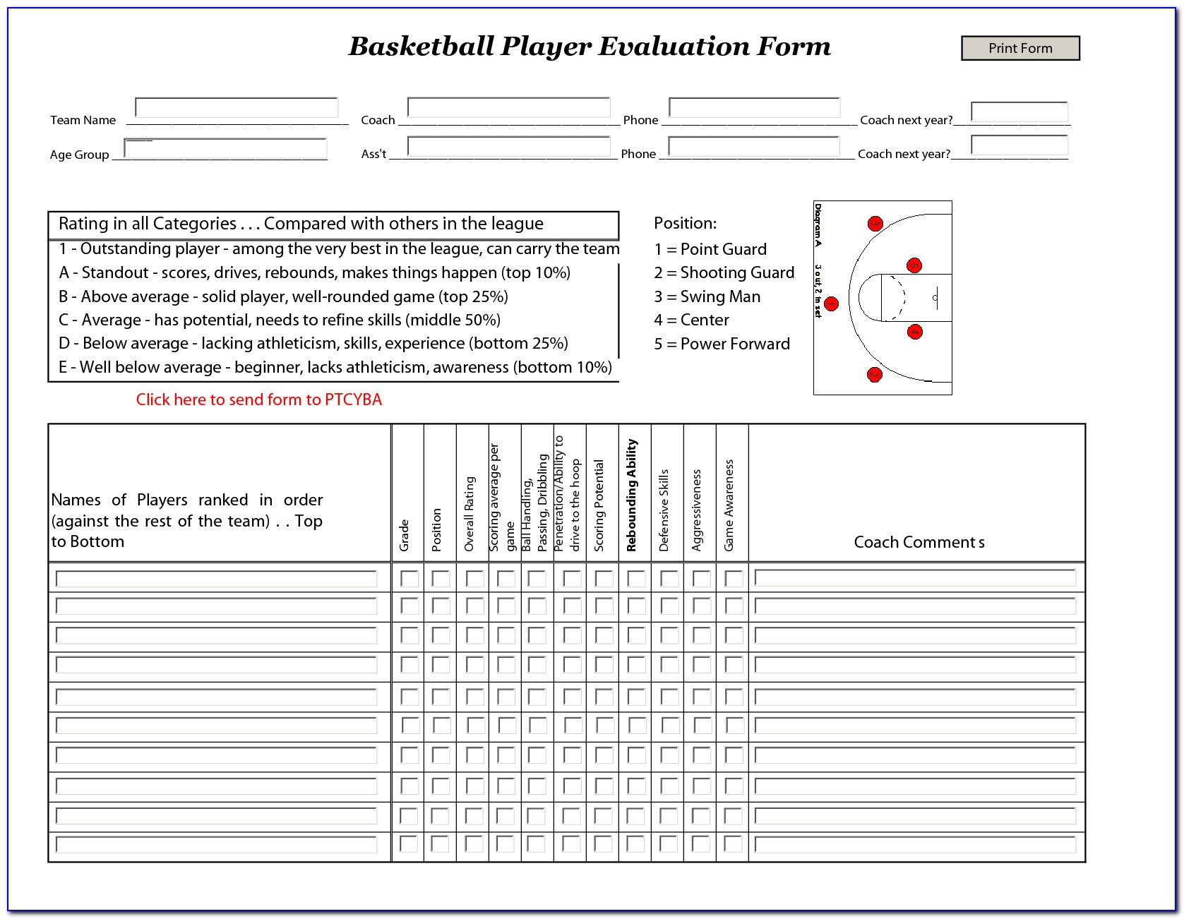 Printable Soccer Tryout Evaluation Form