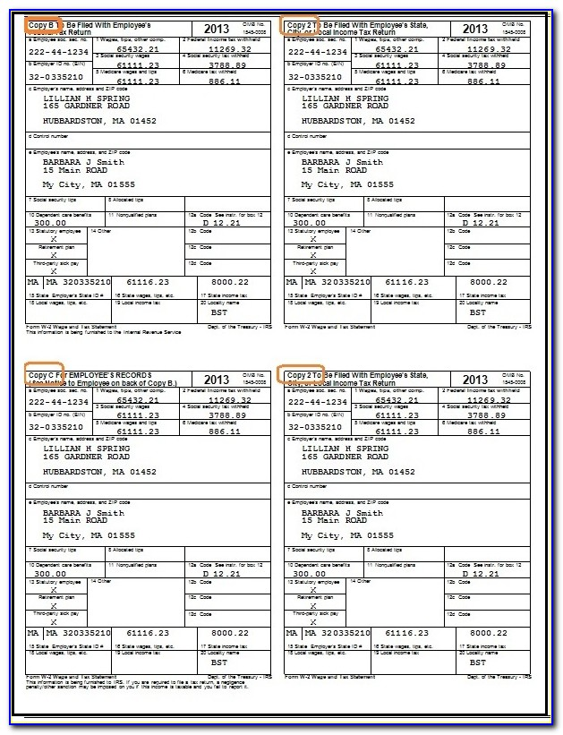 Printable W2 Form For Employees 2017