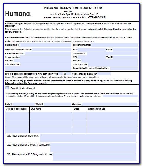 Prior Authorization Form For Medicare Prescription