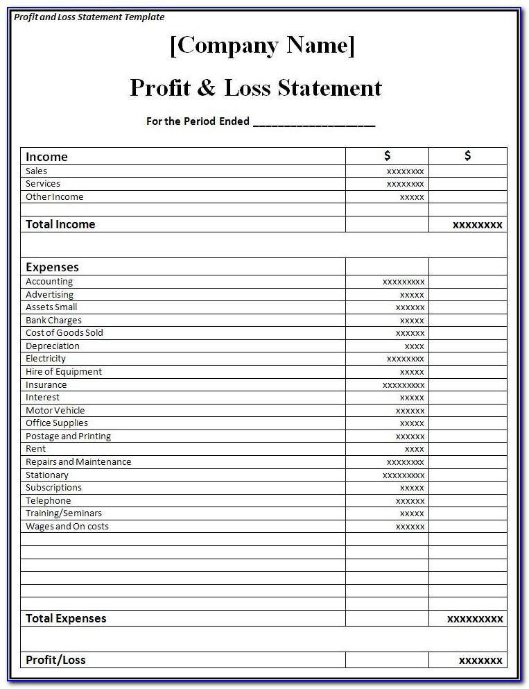 Profit Loss Statement Form Excel