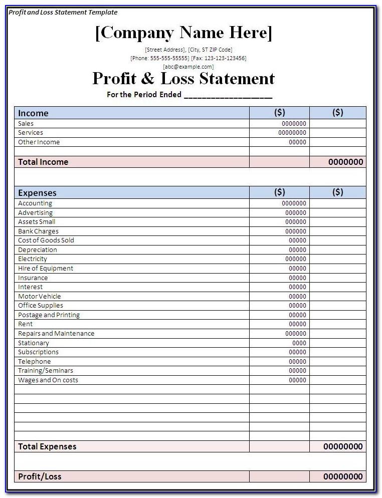 Profit Loss Statement Form Pdf