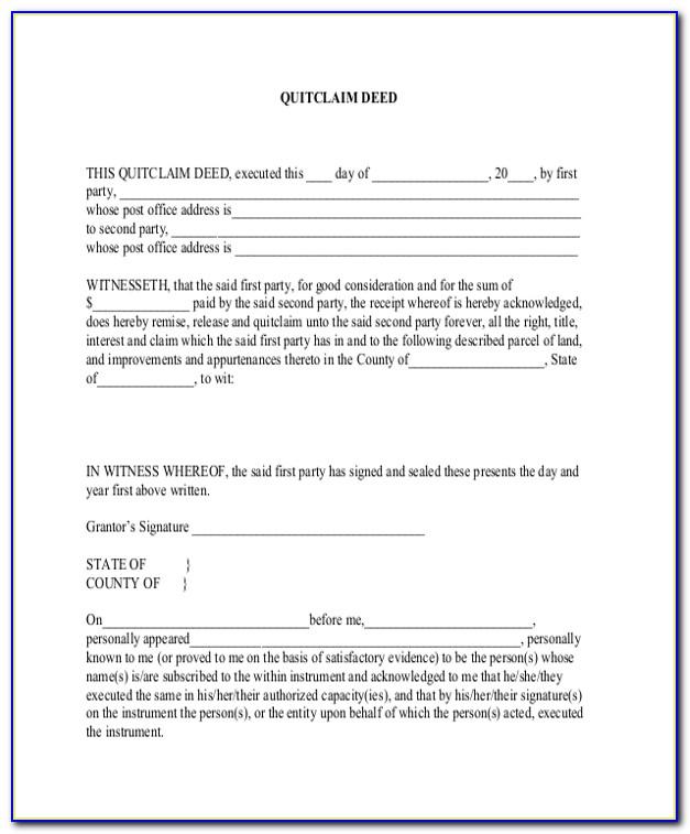 Quick Claim Deed Form Florida