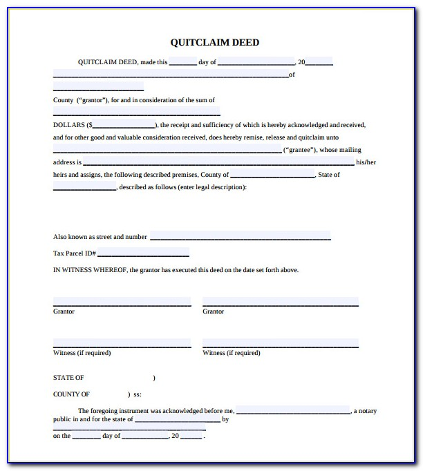 Quick Claim Deed Form Mn