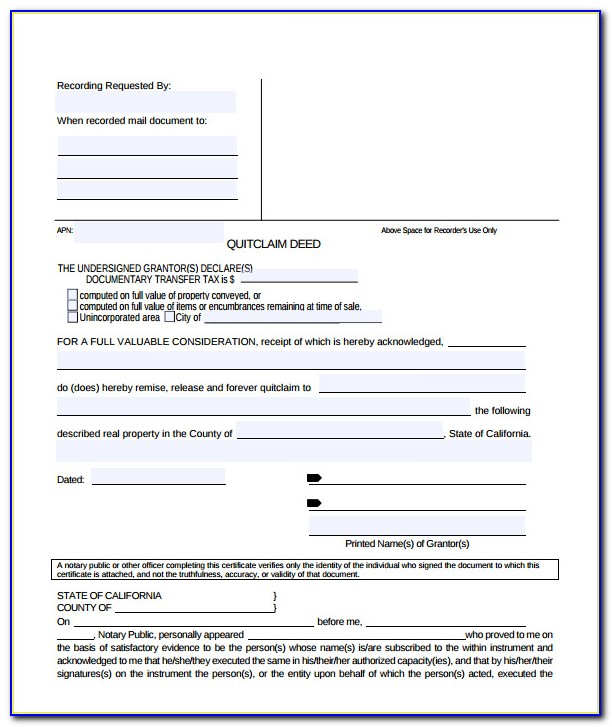 Quit Claim Deed Form California Alameda County