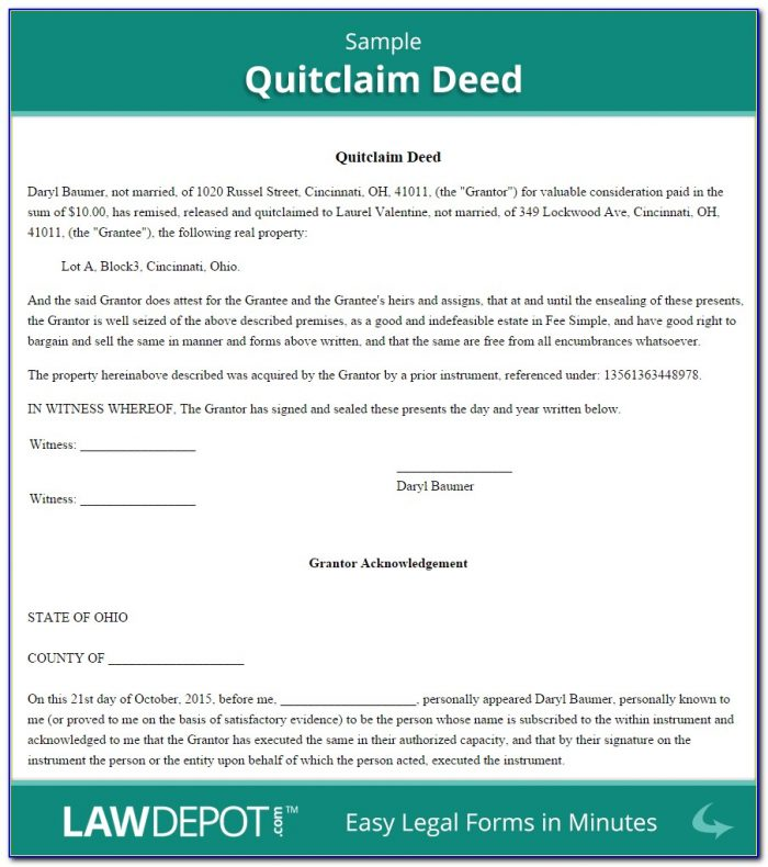 Quit Claim Deed Form California Free Pdf