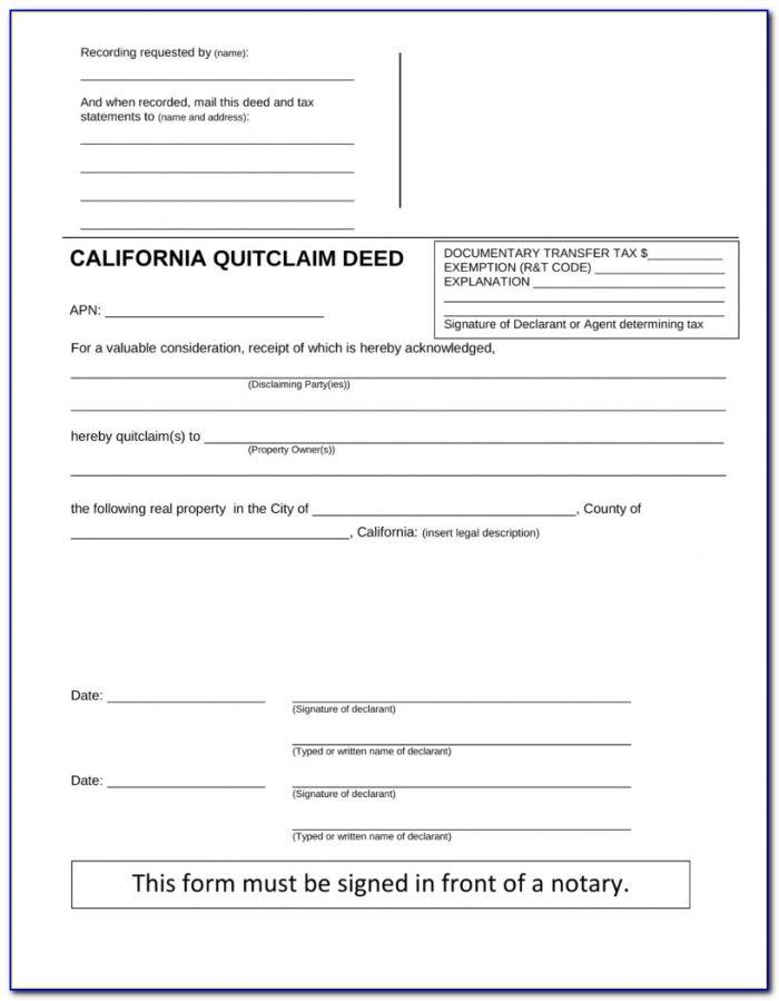 Quit Claim Deed Form California Sample
