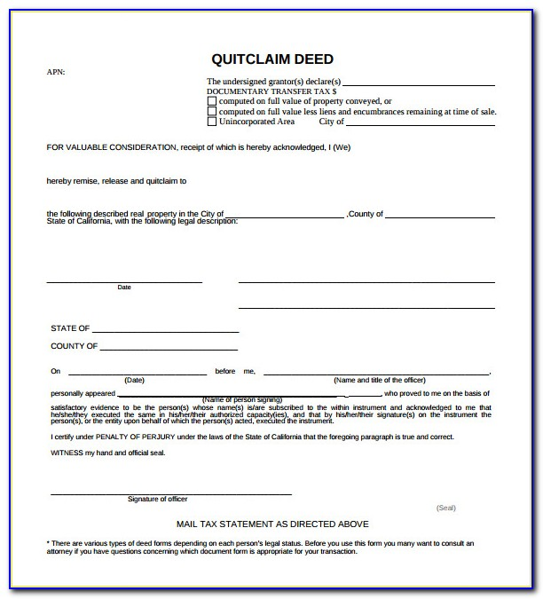 Quit Claim Deed Form Douglas County Colorado