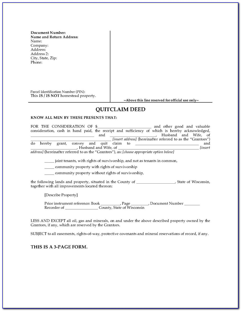 Quit Claim Deed Form Douglas County Georgia