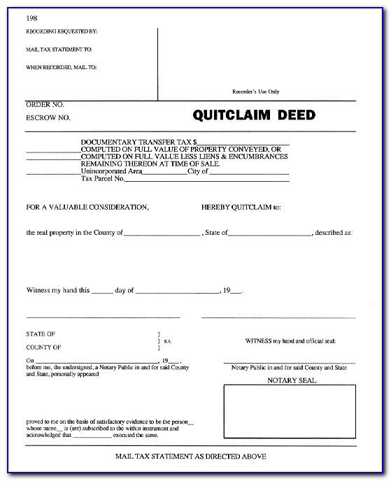 Quit Claim Deed Form El Paso County Colorado