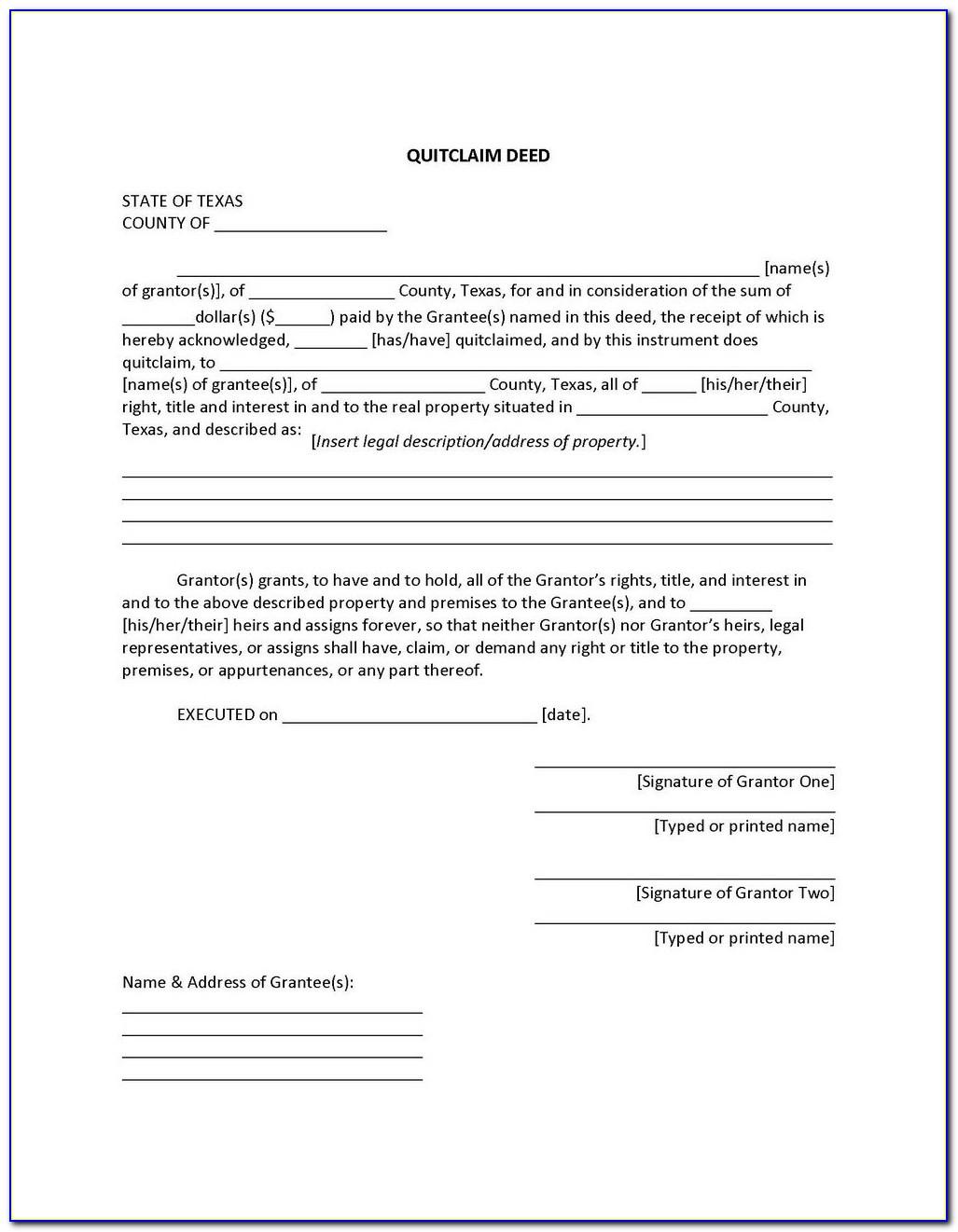 Quit Claim Deed Form Harris County Texas