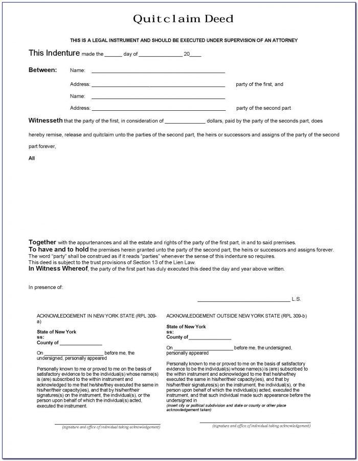 Quit Claim Deed Form Illinois Sample