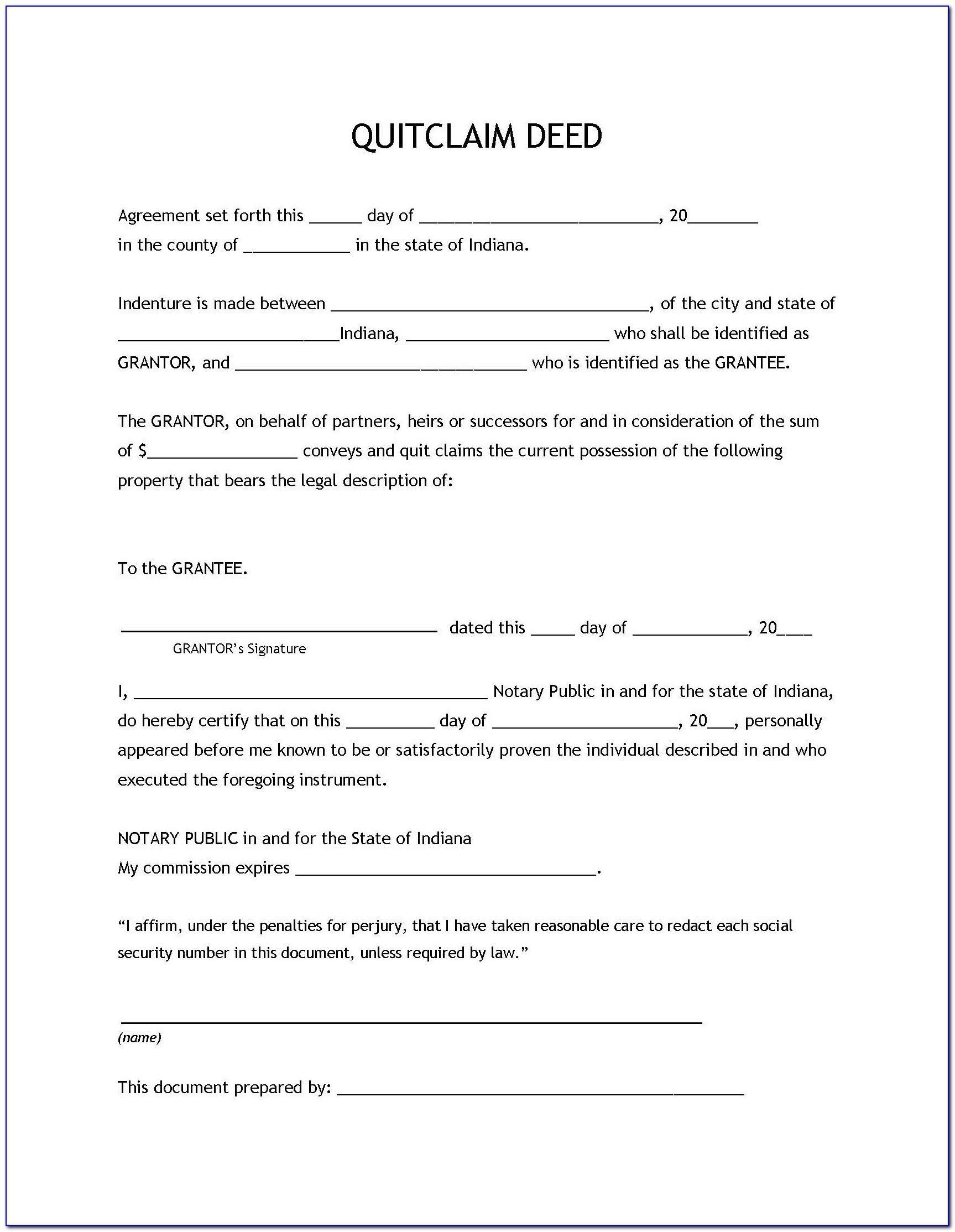 Quit Claim Deed Form Illinois Pdf