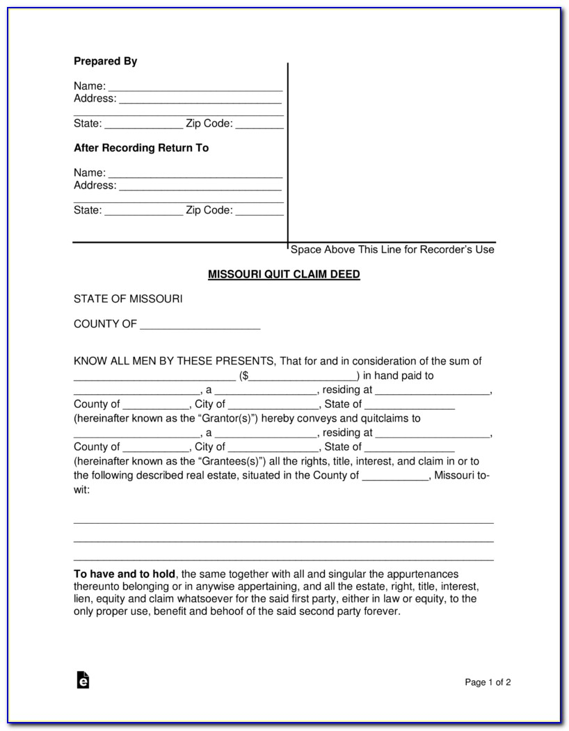Quit Claim Deed Form Jackson County Missouri