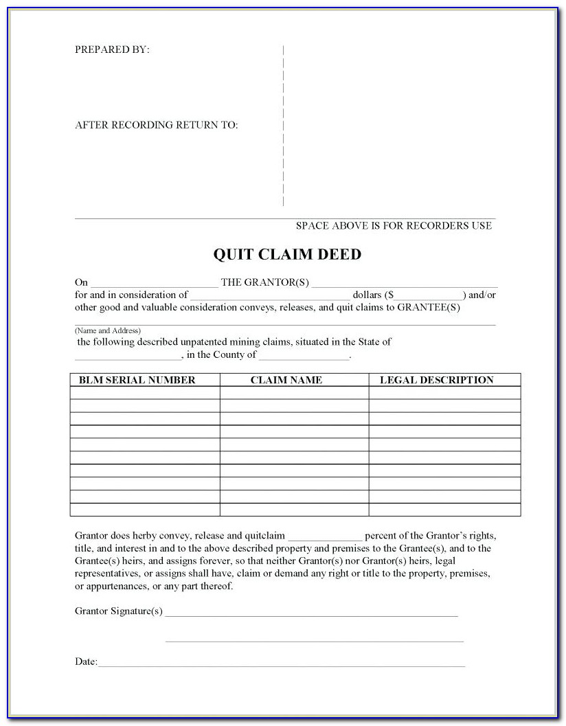 Quit Claim Deed Form Jacksonville Florida
